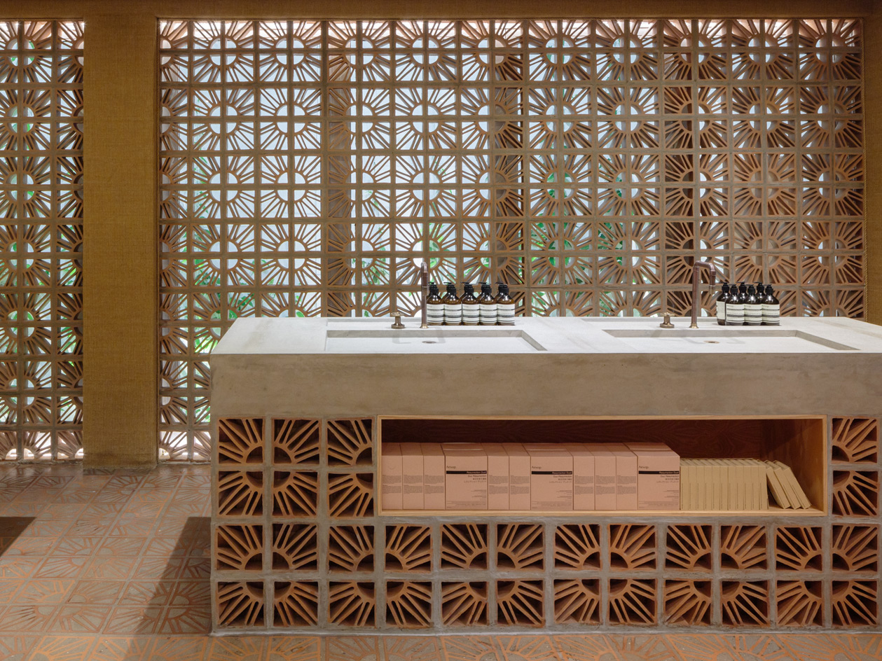 Cobogó Bricks Take Centre Stage At Aesopu0027s Second Sao Paulo Outpost.  Courtesy Of Aesop And Estudio Campana.